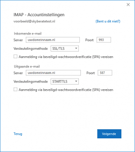 IMAP - accountinstellingen