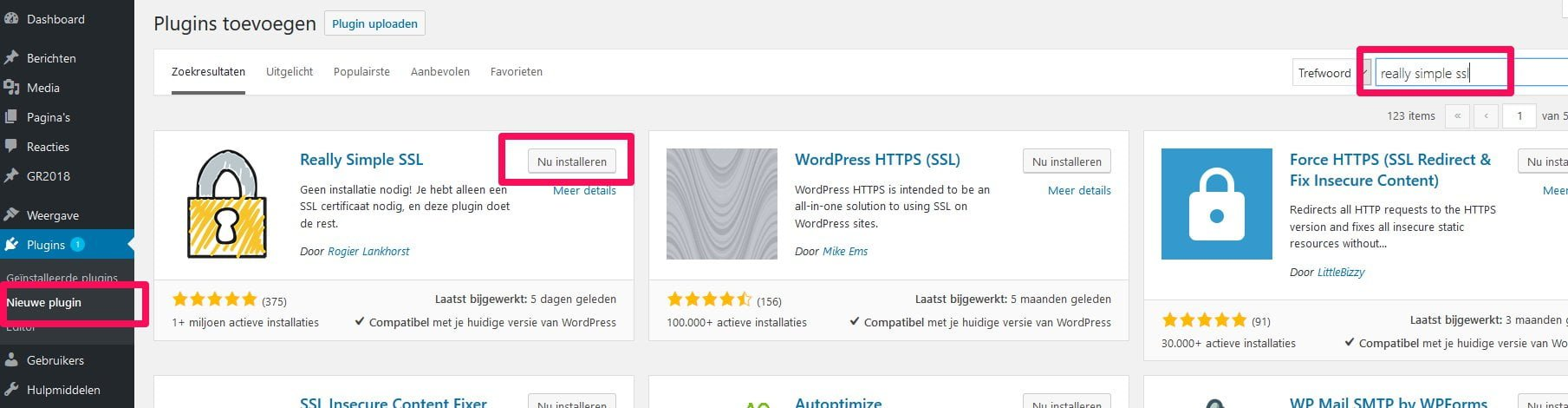 WordPress SSL plugin